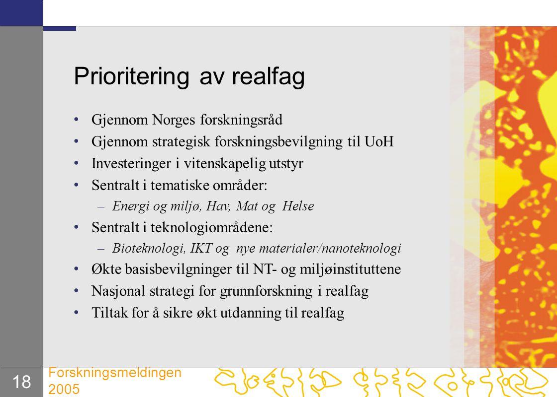 18 Forskningsmeldingen 2005 Prioritering av realfag Gjennom Norges forskningsråd Gjennom strategisk forskningsbevilgning til UoH Investeringer i viten