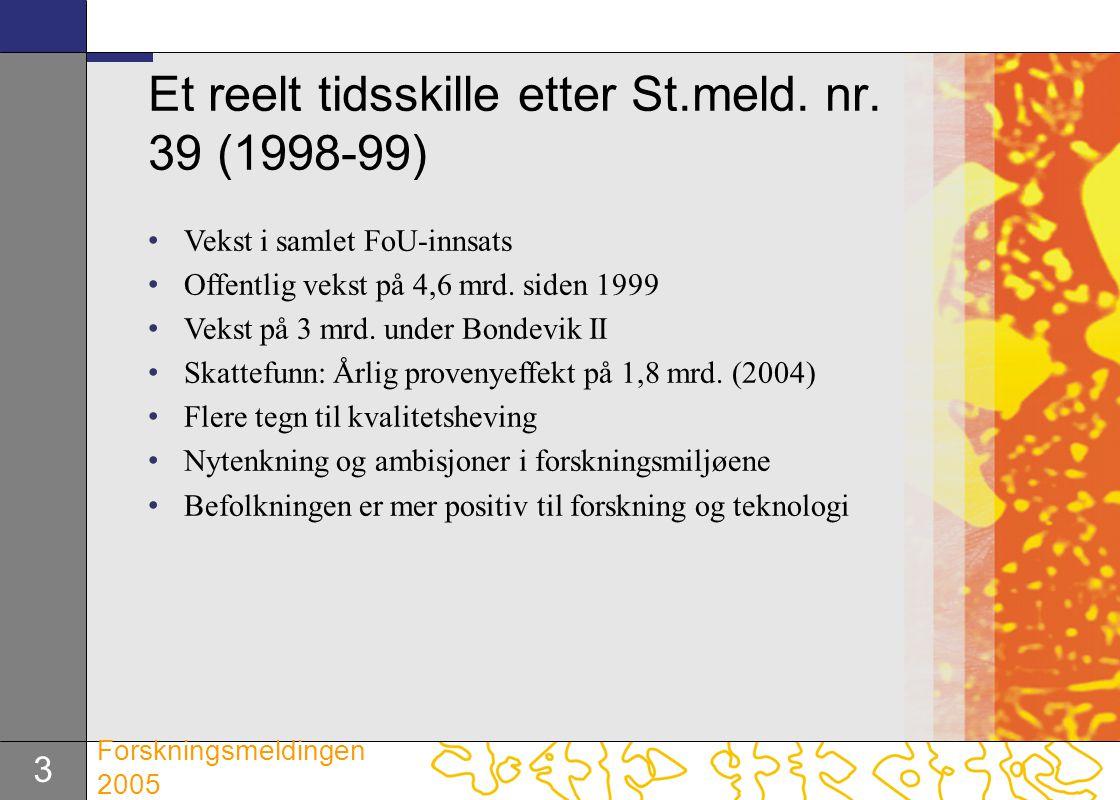 3 Forskningsmeldingen 2005 Et reelt tidsskille etter St.meld. nr. 39 (1998-99) Vekst i samlet FoU-innsats Offentlig vekst på 4,6 mrd. siden 1999 Vekst