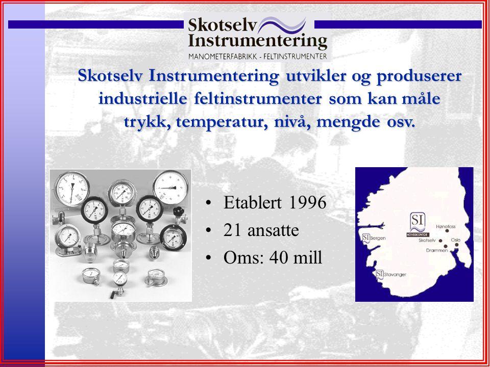 Skotselv Instrumentering utvikler og produserer industrielle feltinstrumenter som kan måle trykk, temperatur, nivå, mengde osv. Etablert 1996 21 ansat