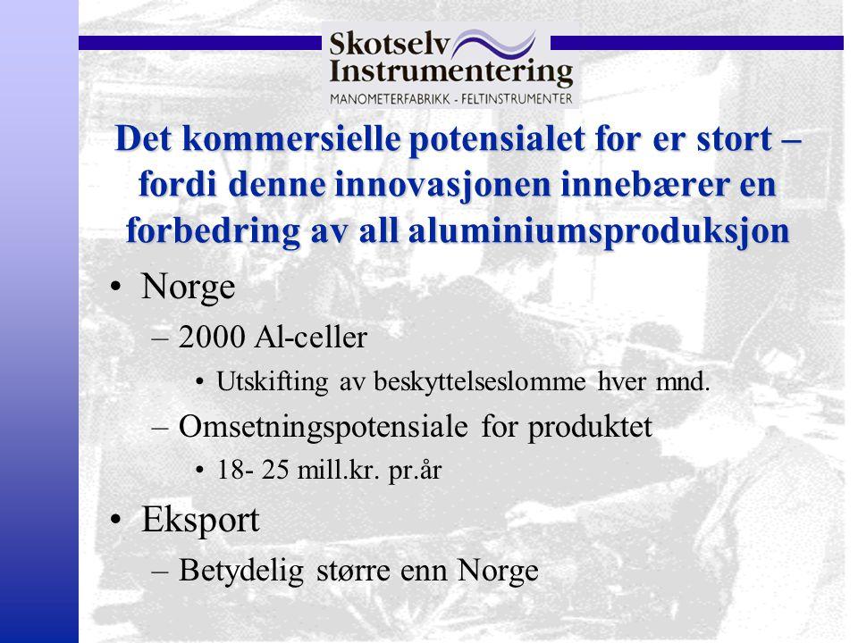 Det kommersielle potensialet for er stort – fordi denne innovasjonen innebærer en forbedring av all aluminiumsproduksjon Norge –2000 Al-celler Utskift