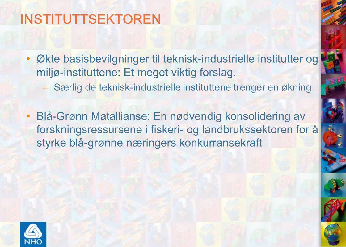 INSTITUTTSEKTOREN Økte basisbevilgninger til teknisk-industrielle institutter og miljø-instituttene: Et meget viktig forslag.