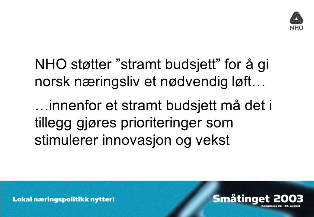 NHO støtter stramt budsjett for å gi norsk næringsliv et nødvendig løft… …innenfor et stramt budsjett må det i tillegg gjøres prioriteringer som stimulerer innovasjon og vekst