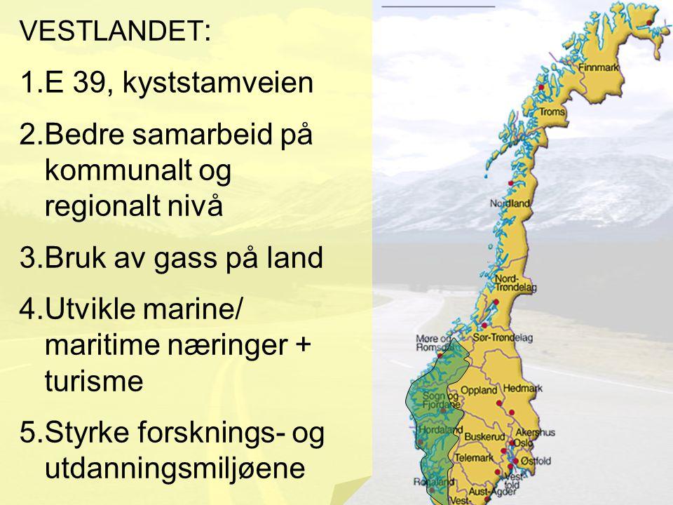 VESTLANDET : 1.E 39, kyststamveien 2.Bedre samarbeid på kommunalt og regionalt nivå 3.Bruk av gass på land 4.Utvikle marine/ maritime næringer + turisme 5.Styrke forsknings- og utdanningsmiljøene