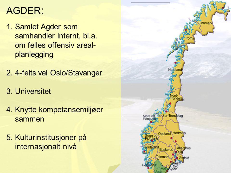 AGDER : 1.Samlet Agder som samhandler internt, bl.a. om felles offensiv areal- planlegging 2.4-felts vei Oslo/Stavanger 3.Universitet 4.Knytte kompeta