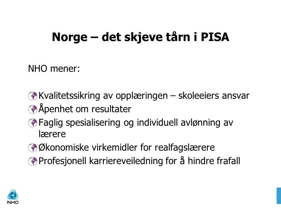Norge – det skjeve tårn i PISA NHO mener: Kvalitetssikring av opplæringen – skoleeiers ansvar Åpenhet om resultater Faglig spesialisering og individuell avlønning av lærere Økonomiske virkemidler for realfagslærere Profesjonell karriereveiledning for å hindre frafall