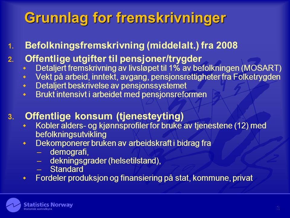 3 Grunnlag for fremskrivninger 1. Befolkningsfremskrivning (middelalt.) fra 2008 2. Offentlige utgifter til pensjoner/trygder  Detaljert fremskrivnin