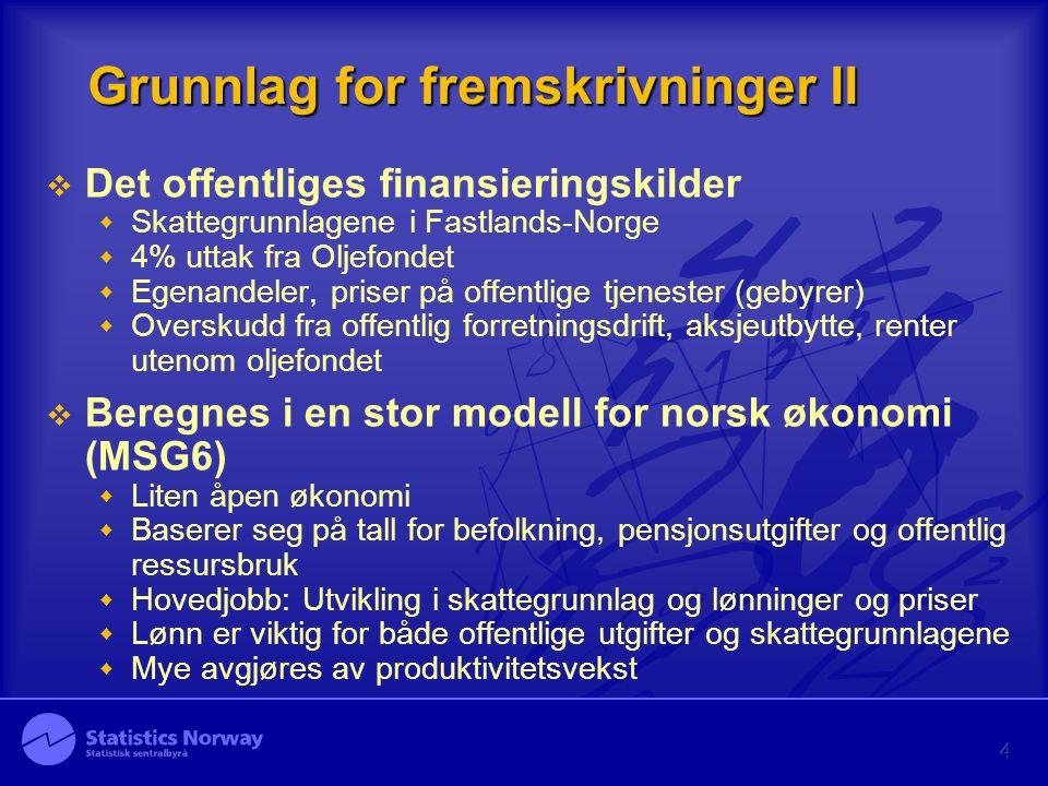 4 Grunnlag for fremskrivninger II  Det offentliges finansieringskilder  Skattegrunnlagene i Fastlands-Norge  4% uttak fra Oljefondet  Egenandeler,