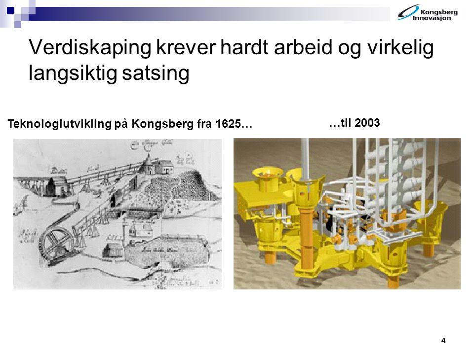 4 Verdiskaping krever hardt arbeid og virkelig langsiktig satsing Teknologiutvikling på Kongsberg fra 1625… …til 2003