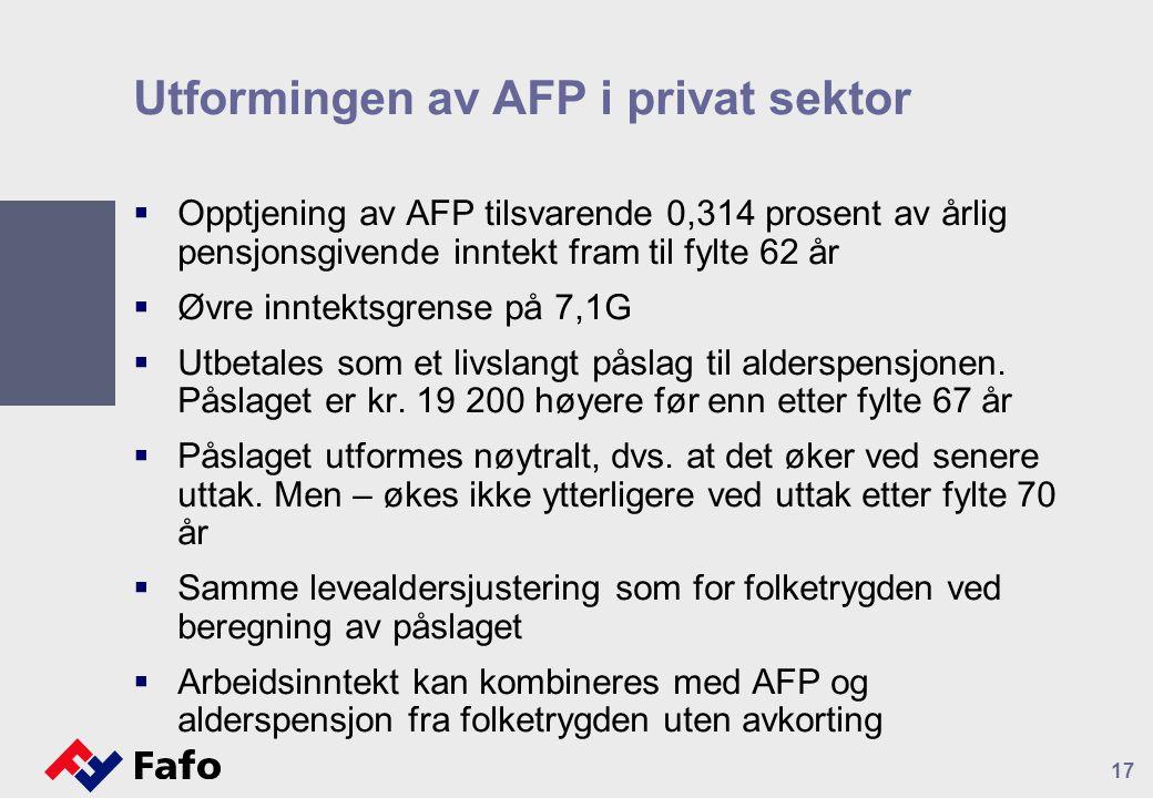 Utformingen av AFP i privat sektor  Opptjening av AFP tilsvarende 0,314 prosent av årlig pensjonsgivende inntekt fram til fylte 62 år  Øvre inntektsgrense på 7,1G  Utbetales som et livslangt påslag til alderspensjonen.