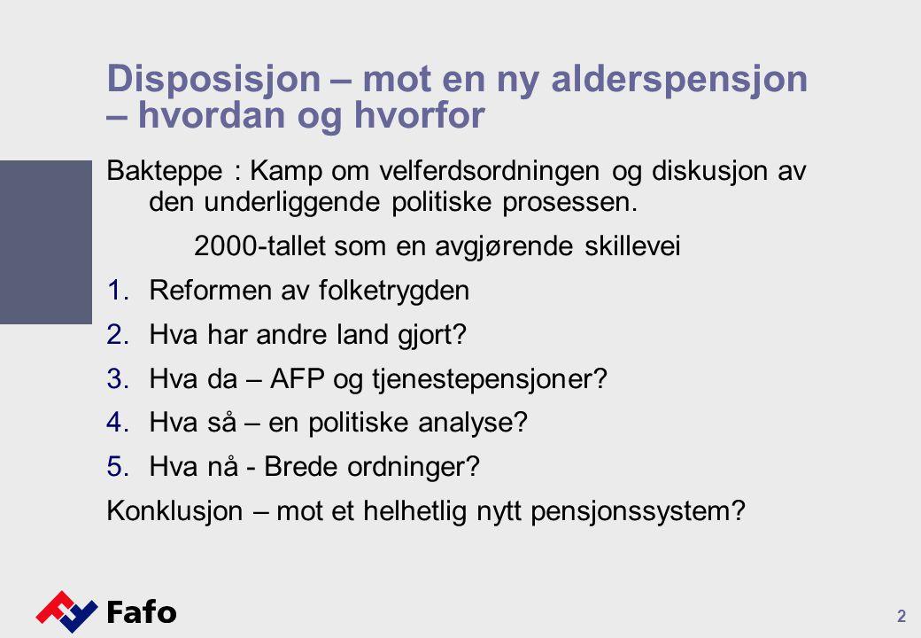 Disposisjon – mot en ny alderspensjon – hvordan og hvorfor Bakteppe : Kamp om velferdsordningen og diskusjon av den underliggende politiske prosessen.