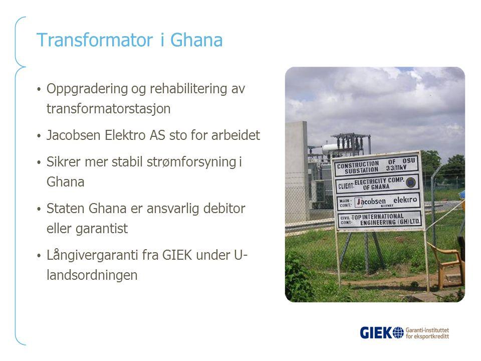 Transformator i Ghana Oppgradering og rehabilitering av transformatorstasjon Jacobsen Elektro AS sto for arbeidet Sikrer mer stabil strømforsyning i G