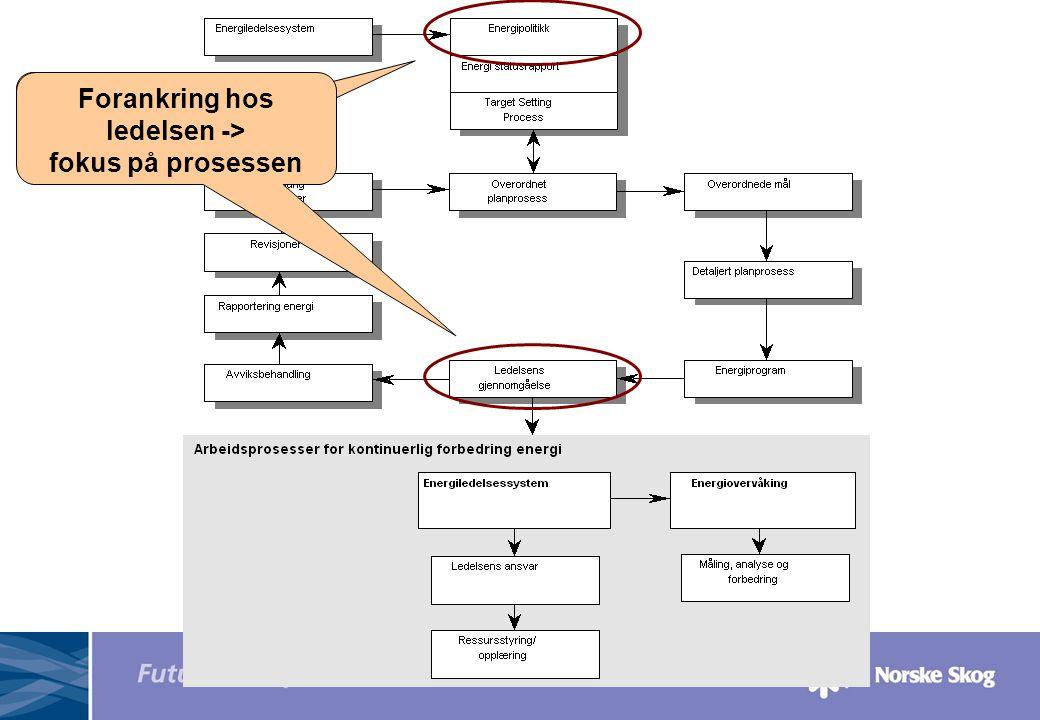 Forankring hos ledelsen Forankring hos ledelsen -> fokus på prosessen