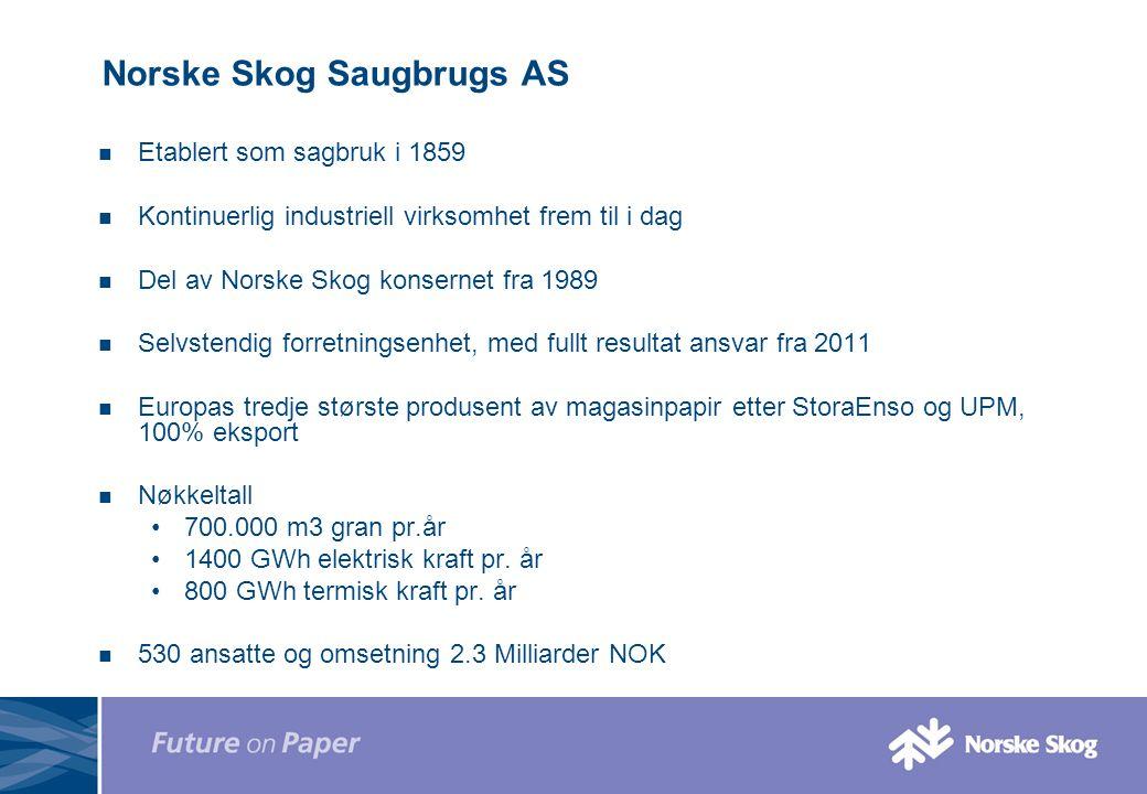 Norske Skog Saugbrugs AS Etablert som sagbruk i 1859 Kontinuerlig industriell virksomhet frem til i dag Del av Norske Skog konsernet fra 1989 Selvsten