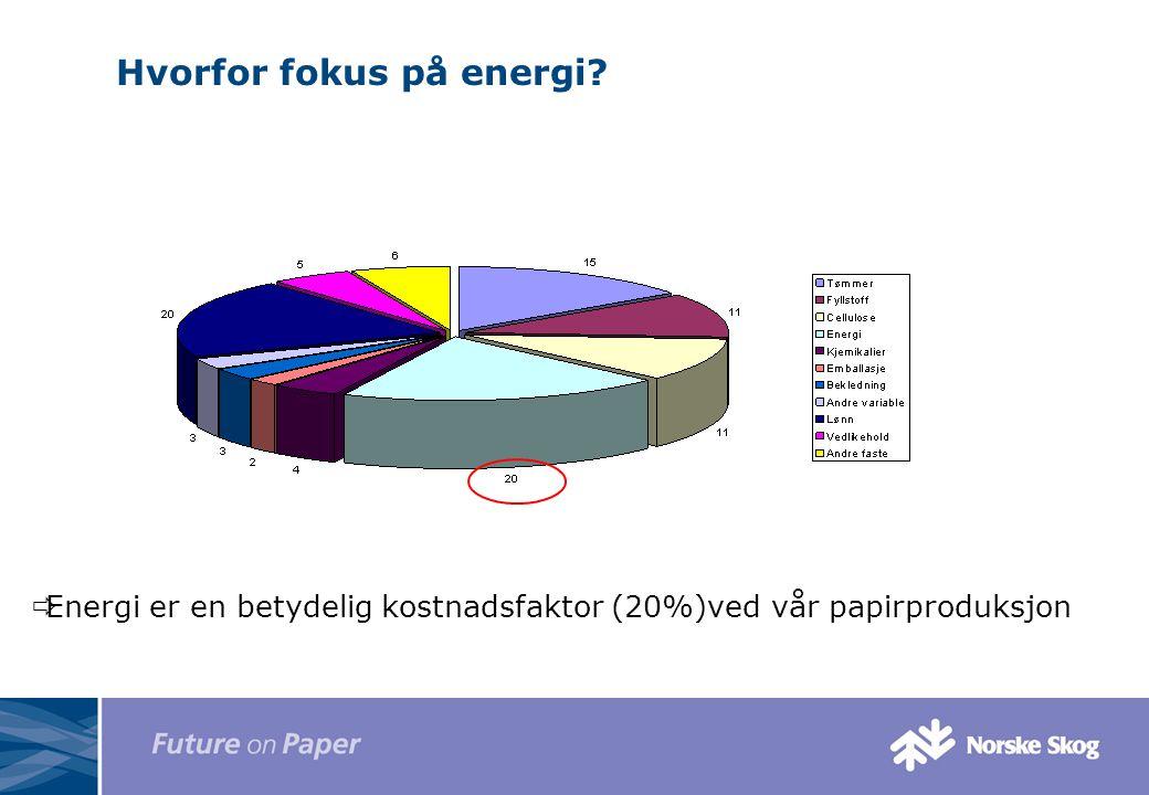 Hvorfor fokus på energi?  Energi er en betydelig kostnadsfaktor (20%)ved vår papirproduksjon
