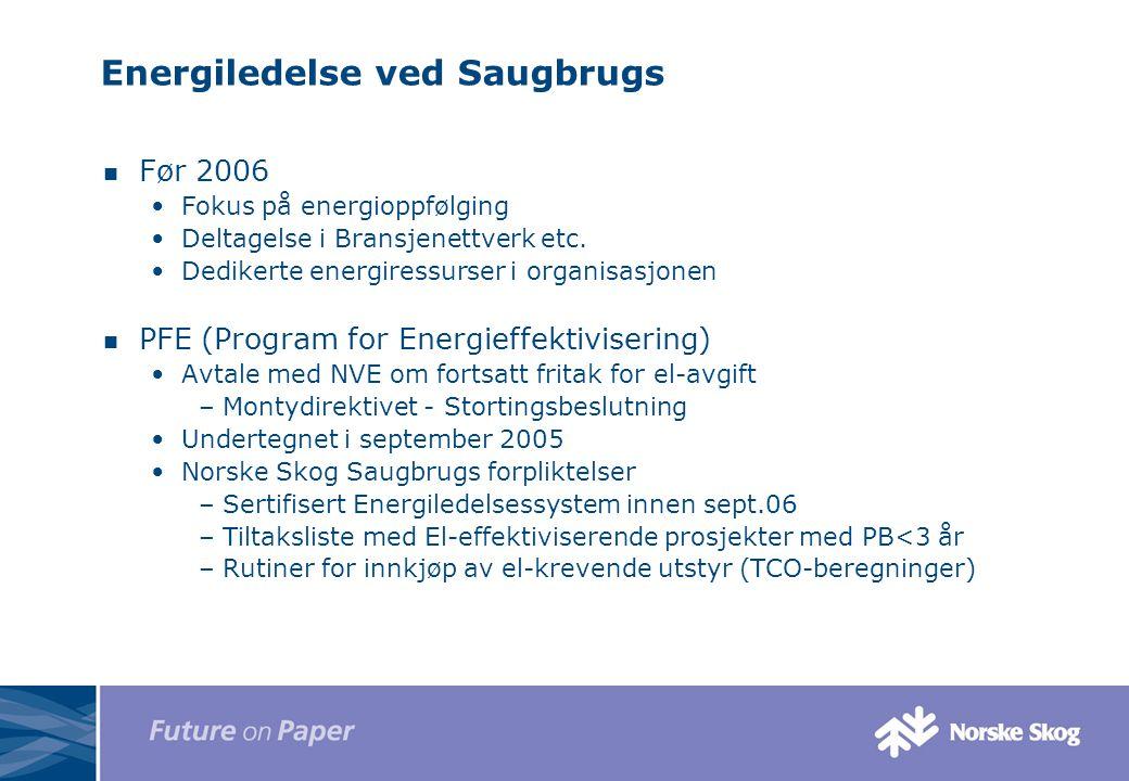 Energiledelse ved Saugbrugs Før 2006 Fokus på energioppfølging Deltagelse i Bransjenettverk etc. Dedikerte energiressurser i organisasjonen PFE (Progr