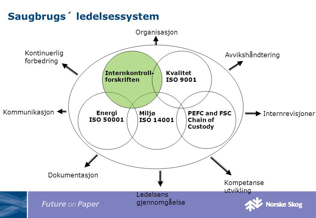 Saugbrugs´ ledelsessystem Energi ISO 50001 Miljø ISO 14001 Avvikshåndtering Kommunikasjon Internrevisjoner Kompetanse utvikling Ledelsens gjennomgåels