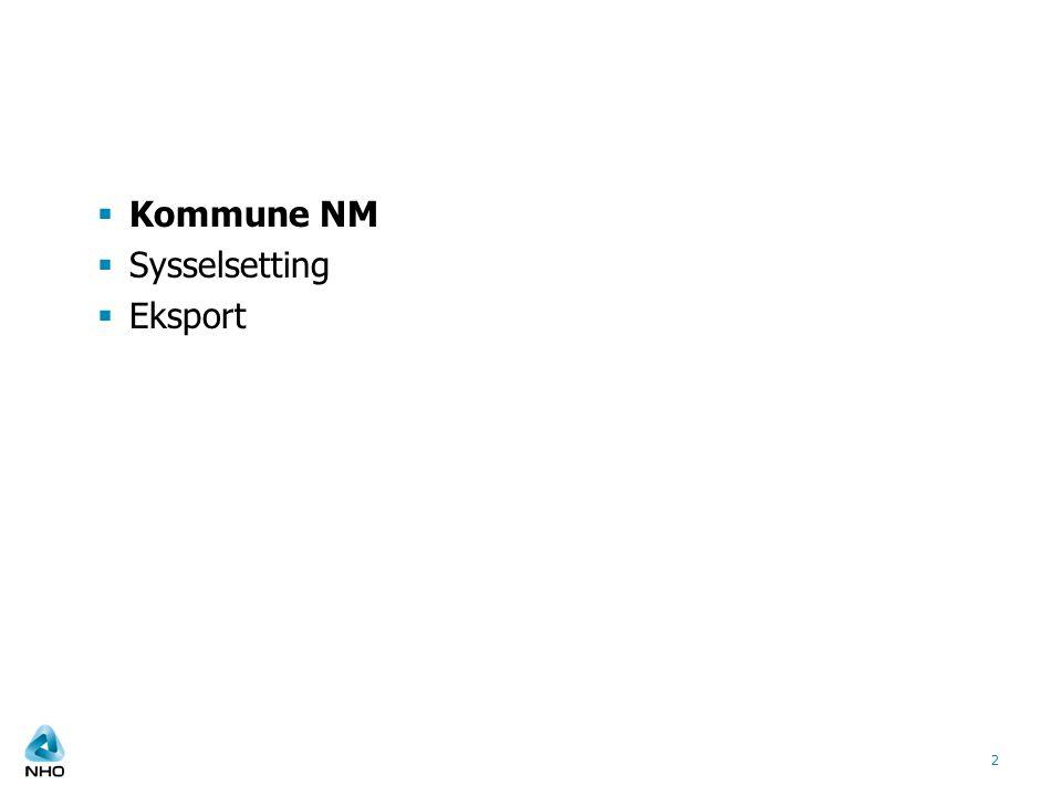  Kommune NM  Sysselsetting  Eksport 2
