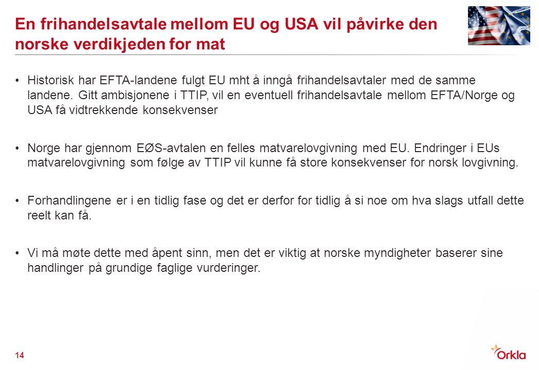 En frihandelsavtale mellom EU og USA vil påvirke den norske verdikjeden for mat Historisk har EFTA-landene fulgt EU mht å inngå frihandelsavtaler med