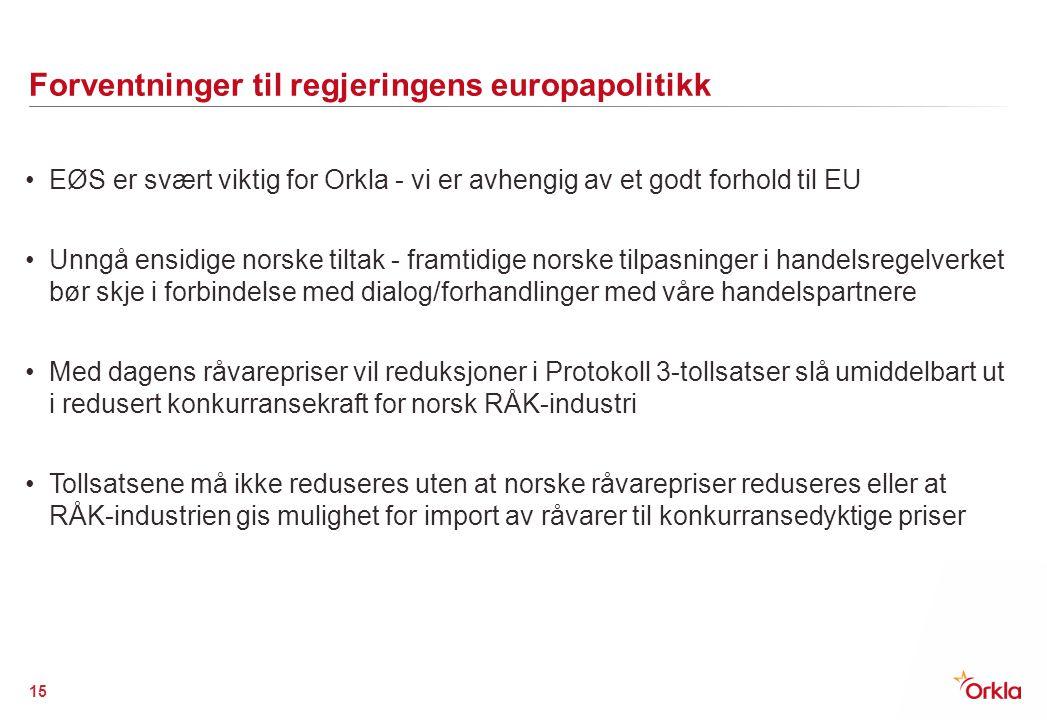 Forventninger til regjeringens europapolitikk EØS er svært viktig for Orkla - vi er avhengig av et godt forhold til EU Unngå ensidige norske tiltak -