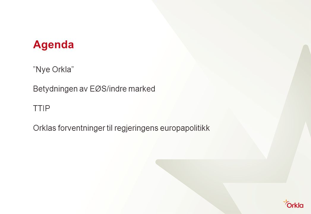 Orkla - Corporate structure Business areas Orkla Foods EBITDA 2012: NOK 1,356 m Orkla Confectionery & Snacks EBITDA 2012: NOK 941 m Orkla Home & Personal EBITDA 2012: NOK 69 m Orkla International EBITDA 2012: NOK 762 m Orkla Food Ingredients EBITDA 2012: NOK 343 m Associated company Jotun (42.5%) EBITDA 2012: NOK 1,374 m (100%) Non-core Sapa (JV) Extruded aluminum products EBITDA 2012: NOK 939 m Gränges (Heat Transfer) Rolled aluminum products EBITDA 2012: NOK 443 m Hydro Power EBITDA 2012: NOK 268m Shares and financial assets Value: NOK 1.0 b Real estate Book value NOK 2.5 b Corporate centre and support functions