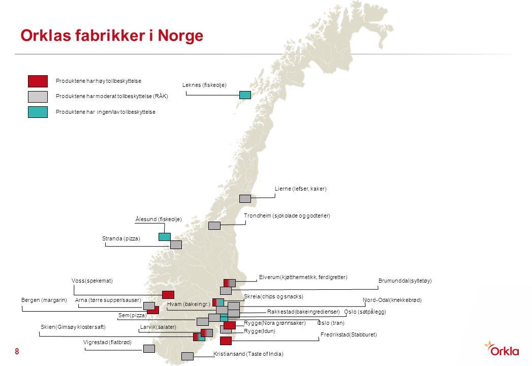 Orklas fabrikker i Norge 8 Kristiansand (Taste of India) Fredrikstad(Stabburet) Rygge(Idun) Rygge(Nora grønnsaker) Rakkestad(bakeingredienser) Brumund