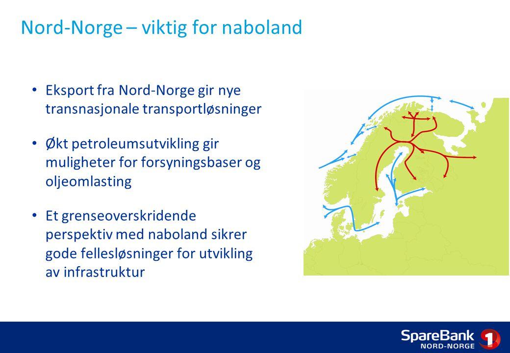 Nord-Norge – viktig for naboland Eksport fra Nord-Norge gir nye transnasjonale transportløsninger Økt petroleumsutvikling gir muligheter for forsyningsbaser og oljeomlasting Et grenseoverskridende perspektiv med naboland sikrer gode fellesløsninger for utvikling av infrastruktur