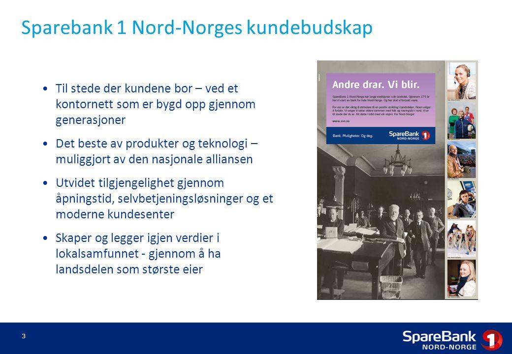 Sparebank 1 Nord-Norges kundebudskap Til stede der kundene bor – ved et kontornett som er bygd opp gjennom generasjoner Det beste av produkter og tekn