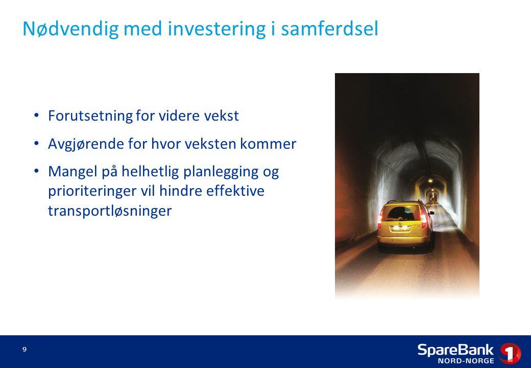 Nødvendig med investering i samferdsel 9 Forutsetning for videre vekst Avgjørende for hvor veksten kommer Mangel på helhetlig planlegging og prioriteringer vil hindre effektive transportløsninger