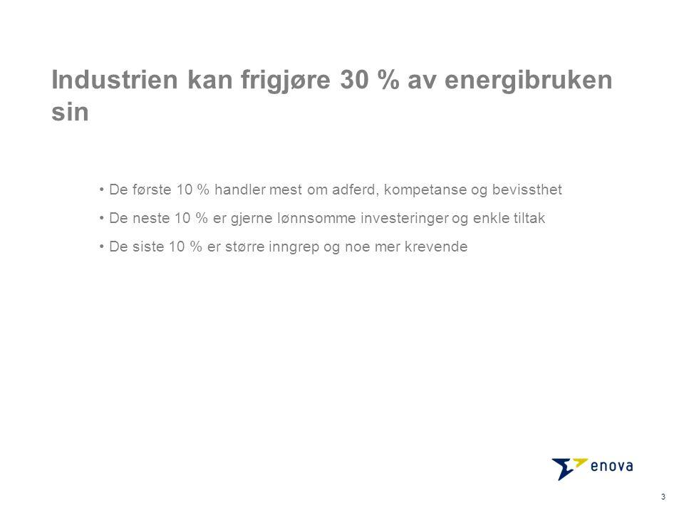 Industrien kan frigjøre 30 % av energibruken sin De første 10 % handler mest om adferd, kompetanse og bevissthet De neste 10 % er gjerne lønnsomme investeringer og enkle tiltak De siste 10 % er større inngrep og noe mer krevende 3