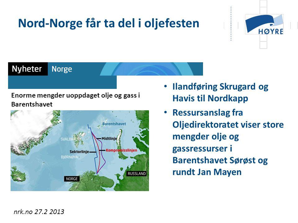 Ilandføring Skrugard og Havis til Nordkapp Ressursanslag fra Oljedirektoratet viser store mengder olje og gassressurser i Barentshavet Sørøst og rundt