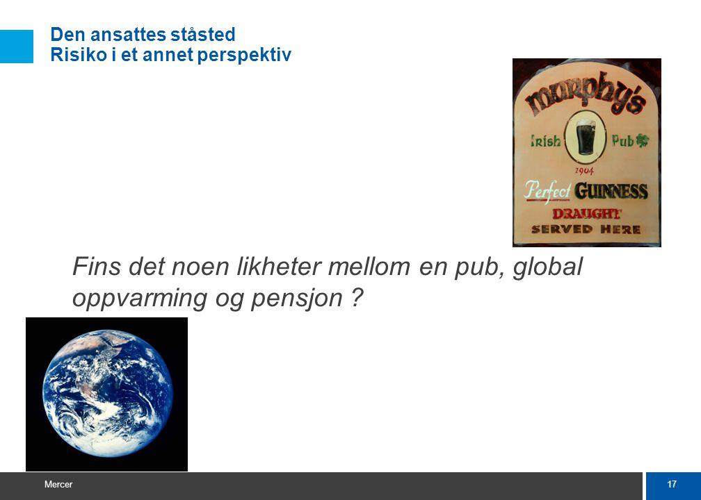 17 Mercer Fins det noen likheter mellom en pub, global oppvarming og pensjon .