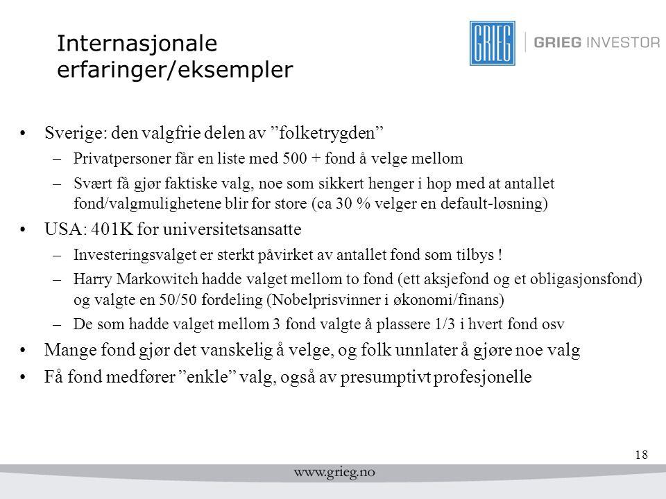 """18 Internasjonale erfaringer/eksempler Sverige: den valgfrie delen av """"folketrygden"""" –Privatpersoner får en liste med 500 + fond å velge mellom –Svært"""