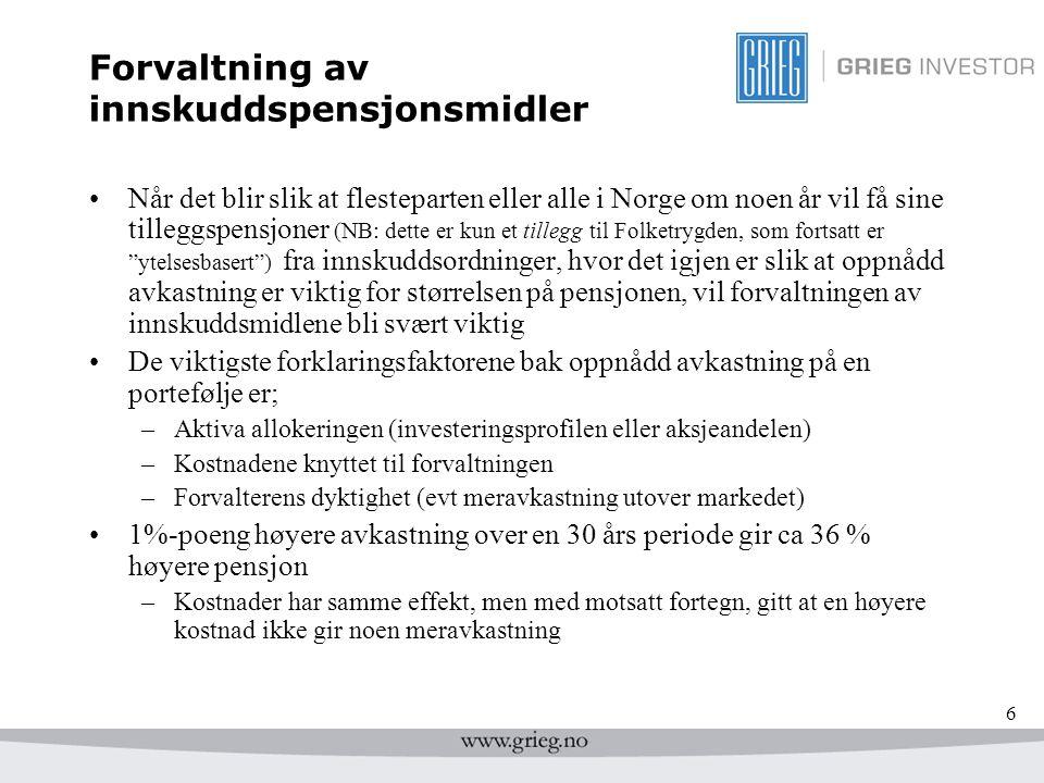 6 Forvaltning av innskuddspensjonsmidler Når det blir slik at flesteparten eller alle i Norge om noen år vil få sine tilleggspensjoner (NB: dette er k