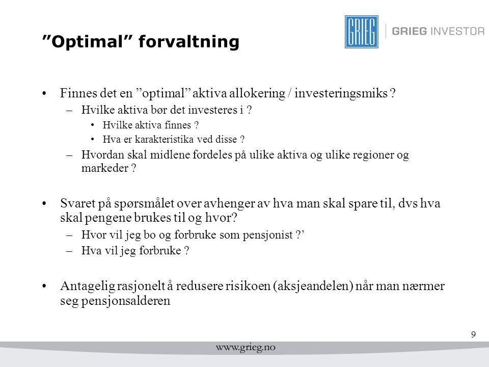 """9 """"Optimal"""" forvaltning Finnes det en """"optimal"""" aktiva allokering / investeringsmiks ? –Hvilke aktiva bør det investeres i ? Hvilke aktiva finnes ? Hv"""