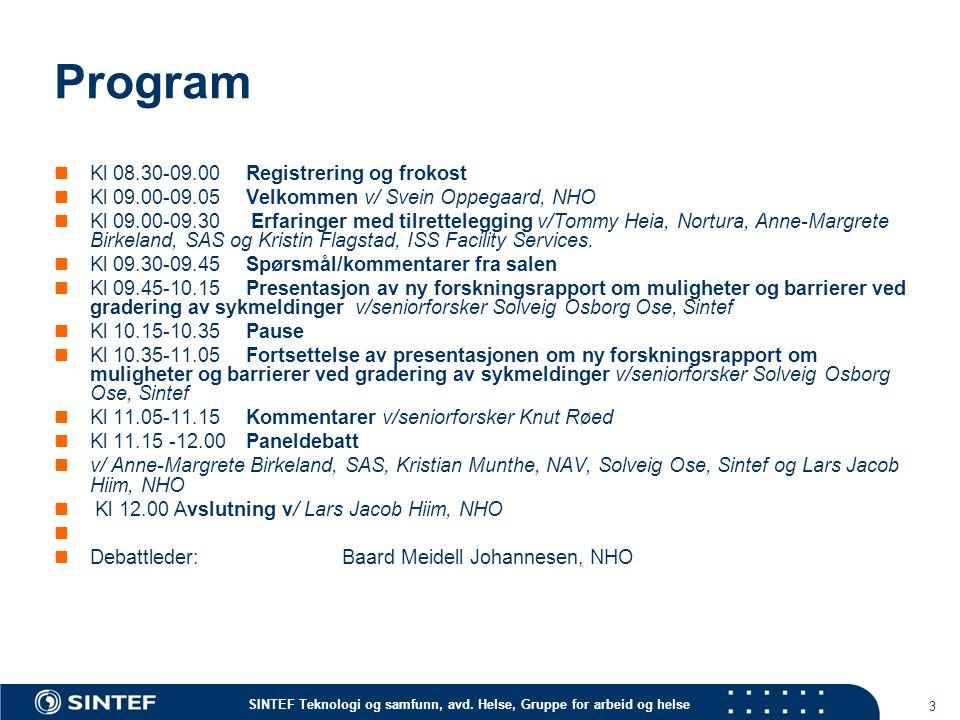 SINTEF Teknologi og samfunn, avd. Helse, Gruppe for arbeid og helse Program Kl 08.30-09.00 Registrering og frokost Kl 09.00-09.05Velkommen v/ Svein Op