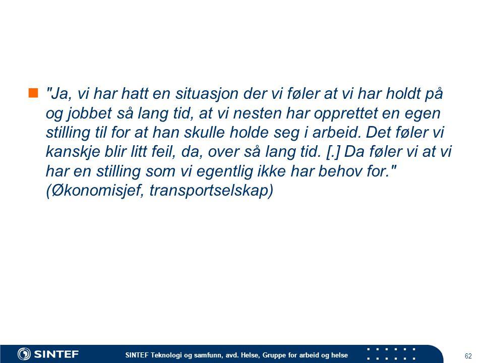 SINTEF Teknologi og samfunn, avd. Helse, Gruppe for arbeid og helse