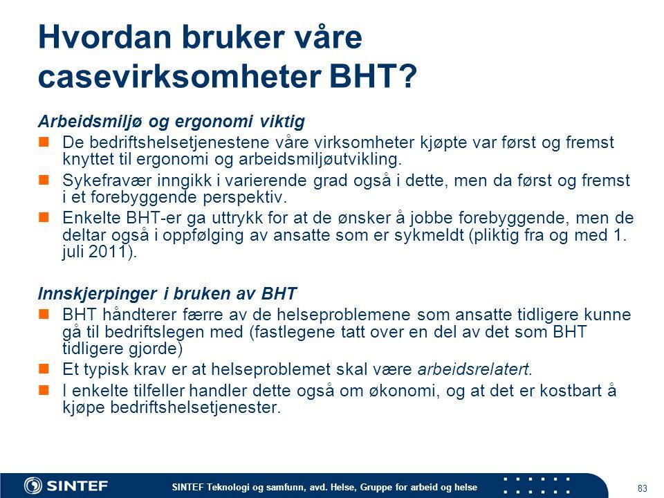 SINTEF Teknologi og samfunn, avd. Helse, Gruppe for arbeid og helse Hvordan bruker våre casevirksomheter BHT? Arbeidsmiljø og ergonomi viktig De bedri