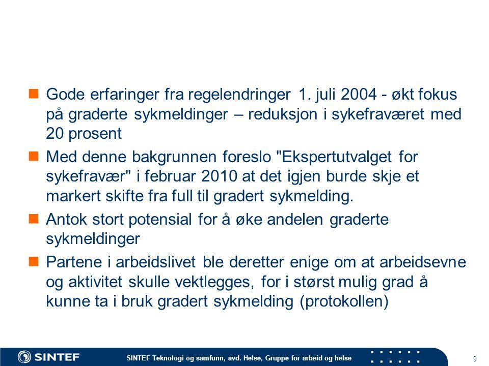 SINTEF Teknologi og samfunn, avd. Helse, Gruppe for arbeid og helse Gode erfaringer fra regelendringer 1. juli 2004 - økt fokus på graderte sykmelding