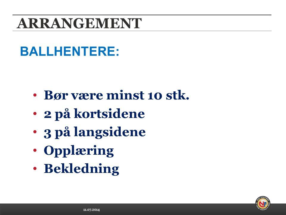 11.07.2014 ARRANGEMENT Bør være minst 10 stk. 2 på kortsidene 3 på langsidene Opplæring Bekledning BALLHENTERE:
