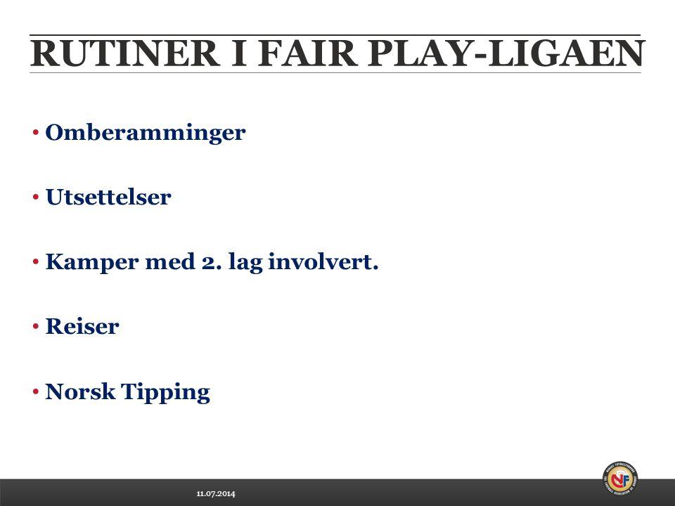 11.07.2014 RUTINER I FAIR PLAY-LIGAEN Omberamminger Utsettelser Kamper med 2.