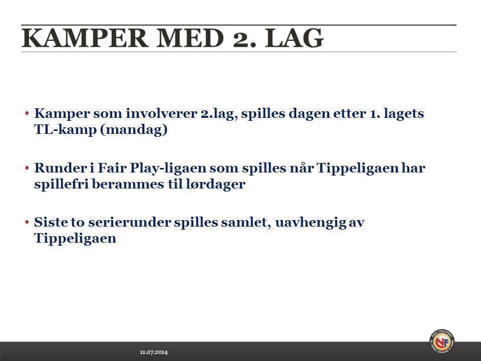 11.07.2014 KAMPER MED 2. LAG Kamper som involverer 2.lag, spilles dagen etter 1.