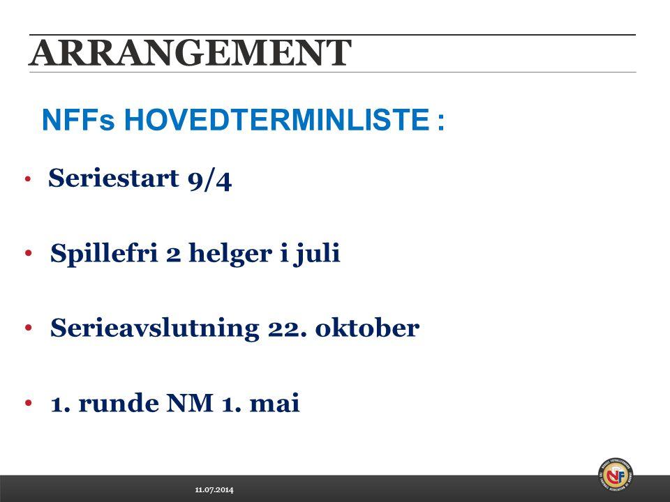 11.07.2014 ARRANGEMENT Seriestart 9/4 Spillefri 2 helger i juli Serieavslutning 22.