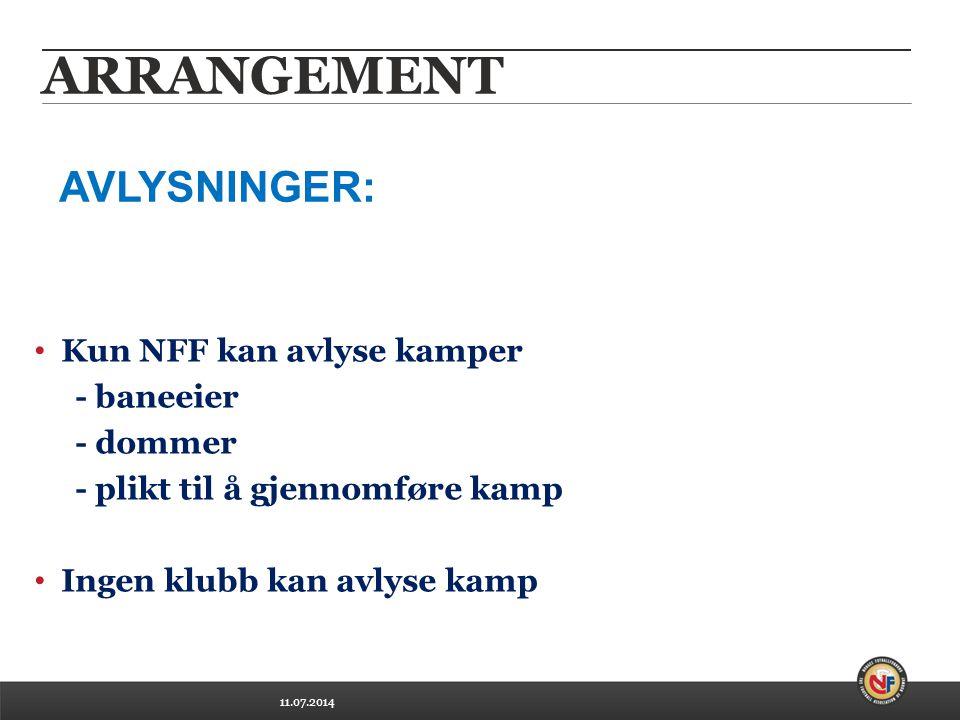 11.07.2014 ARRANGEMENT Kun NFF kan avlyse kamper - baneeier - dommer - plikt til å gjennomføre kamp Ingen klubb kan avlyse kamp AVLYSNINGER:
