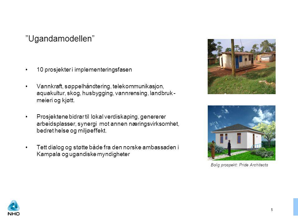 5 Ugandamodellen 10 prosjekter i implementeringsfasen Vannkraft, søppelhåndtering, telekommunikasjon, aquakultur, skog, husbygging, vannrensing, landbruk - meieri og kjøtt.