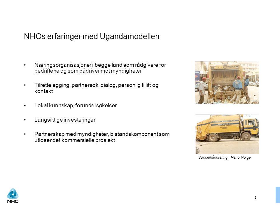 6 NHOs erfaringer med Ugandamodellen Næringsorganisasjoner i begge land som rådgivere for bedriftene og som pådriver mot myndigheter Tilrettelegging, partnersøk, dialog, personlig tillitt og kontakt Lokal kunnskap, forundersøkelser Langsiktige investeringer Partnerskap med myndigheter, bistandskomponent som utløser det kommersielle prosjekt Søppelhåndtering: Reno Norge