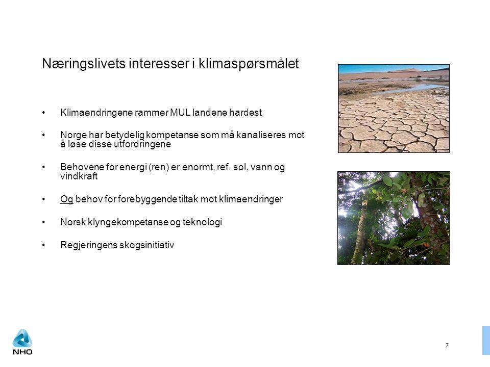 7 Næringslivets interesser i klimaspørsmålet Klimaendringene rammer MUL landene hardest Norge har betydelig kompetanse som må kanaliseres mot å løse disse utfordringene Behovene for energi (ren) er enormt, ref.