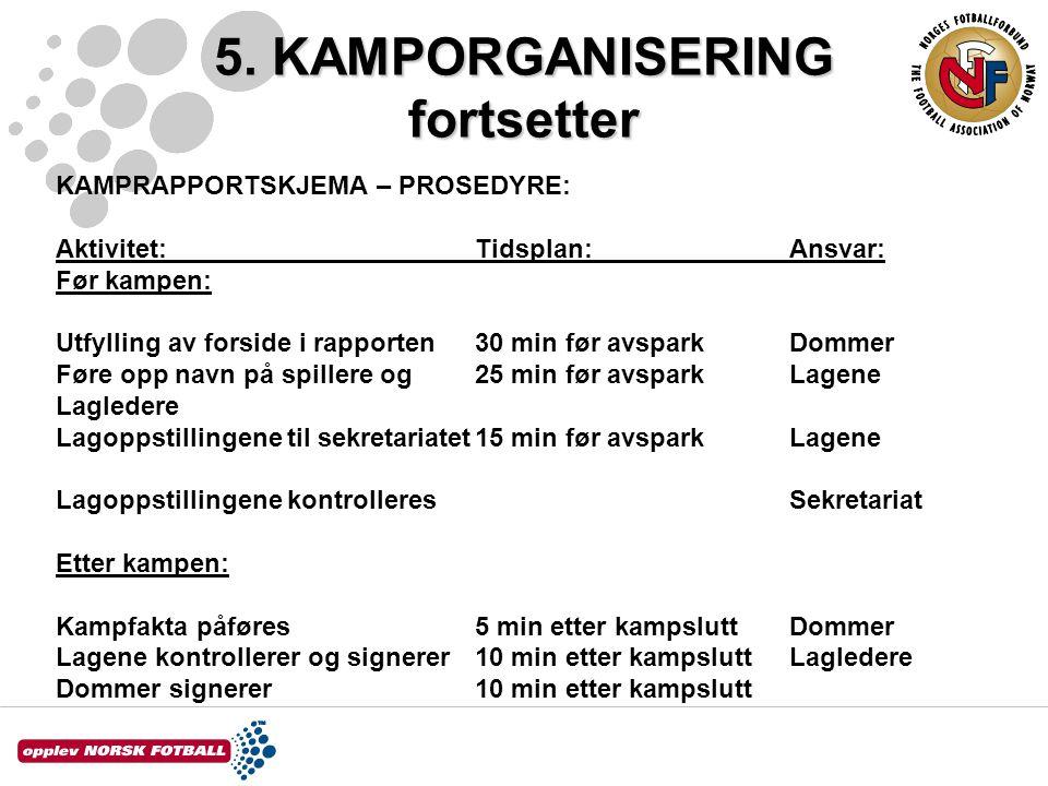 5. KAMPORGANISERING fortsetter KAMPRAPPORTSKJEMA – PROSEDYRE: Aktivitet:Tidsplan:Ansvar: Før kampen: Utfylling av forside i rapporten30 min før avspar