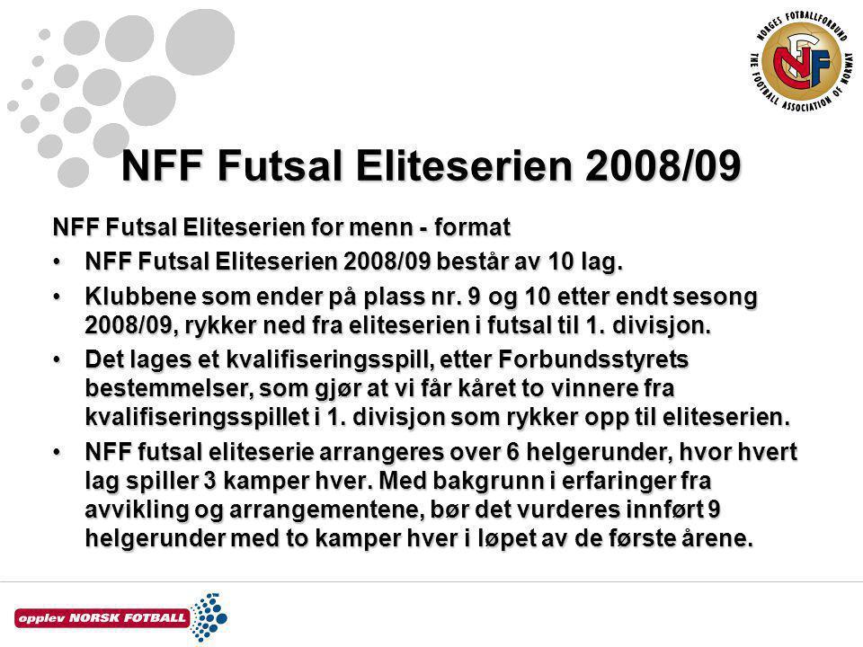 NFF Futsal Eliteserien 2008/09 NFF Futsal Eliteserien for menn - format NFF Futsal Eliteserien 2008/09 består av 10 lag.NFF Futsal Eliteserien 2008/09 består av 10 lag.
