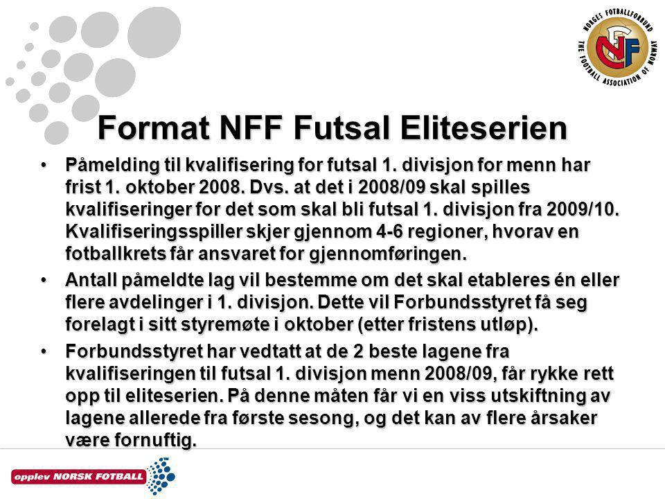 Format NFF Futsal Eliteserien Påmelding til kvalifisering for futsal 1.