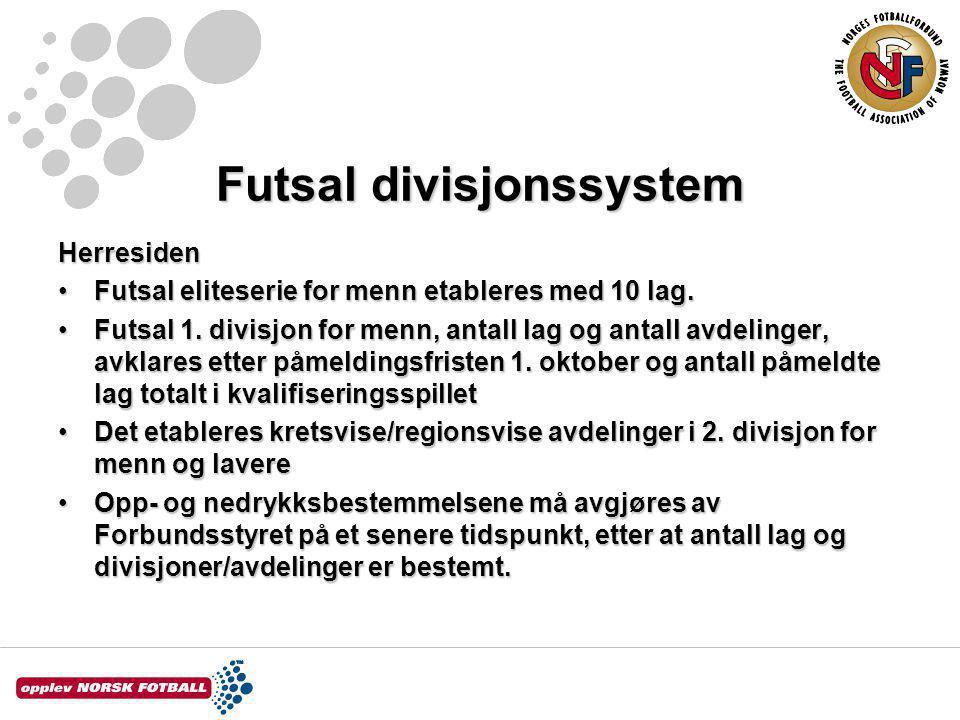 Futsal divisjonssystem Herresiden Futsal eliteserie for menn etableres med 10 lag.Futsal eliteserie for menn etableres med 10 lag.